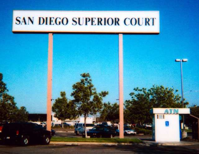 An ATM located next to the sign for the San Diego Superior Court